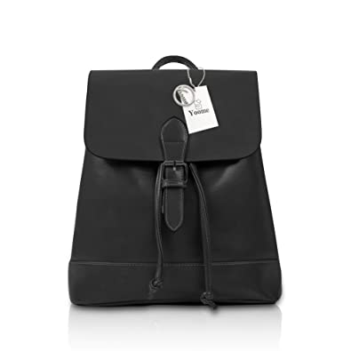 Yoome 3 Pieces Set Vintage Leather Teen Girls School Laptop Backpack  Shoulder Bag Black 56ee1fd18dbe5