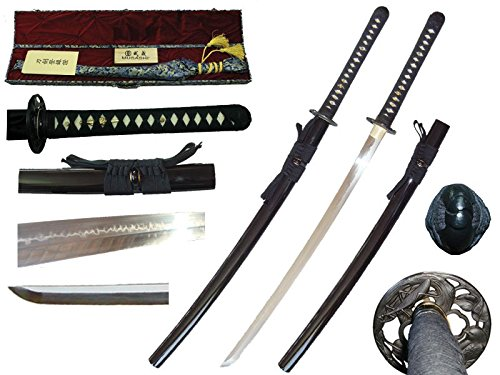 Musashi Hand Forged T10 Carbon Steel Blade, Japanese Samurai Sword Katana, Real Ray Skin With Iron Tsuba (Black) (Best Japanese Forged Irons)