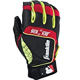 Franklin Sports MLB Adult Shok-Sorb Neo Batting Gloves, Black/Red/Yellow, Large