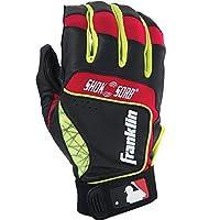 Franklin Sports MLB Adult Shok-Sorb Neo Batting Gloves, Black/Red/Yellow, X-Large