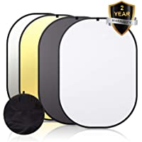 Abeststudio Photography Backdrop Black / White Background 100% Cotton Muslin Fabric1.5x2M 4.9x6.6FT + 2 in 1 Gold / Silver Reflector, Rectangle Double Sided Pop Up Background | Perfect for YouTube, Video Editing