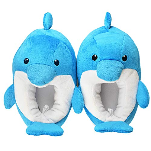 Little Kids Boys Cute Dolphin Warm Slippers with Rubber Hard Sole Size 9-10 US Blue