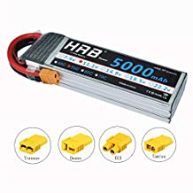 HRB 11.1V 5000mAh 3S 50C-100C LiPo Battery Pack with xt60 Plug for RC DJI F450 Quadcopter RC Helicopter Airplane Hobby Drone and FPV (EC3/Deans/Traxxas/Tamiya)