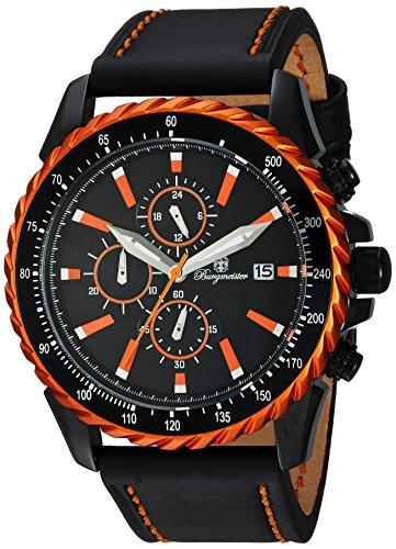 Burgmeister Men's Quartz Metal and Leather Casual Watch, Color:Black (Model: BMT02-652)