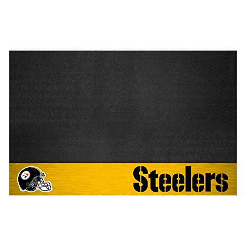 AM 42 X 26 Inch Steelers Grill Mat, Football Themed Outdoor Deck Patio Non Curling Area Rug Carpet Sports Patterned, Team Color Logo Fan Merchandise Athletic Spirit Gold Black White, Vinyl ()