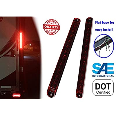 "Autosmart 2PCS Red 17"" 11 LED Trailer Light Bar Sealed Stop Turn Tail Park Brake Light Truck Trailer Clearance Marker ID Bar: Automotive"