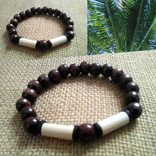 Brown and Black Mens Beaded Bracelet with acai beads