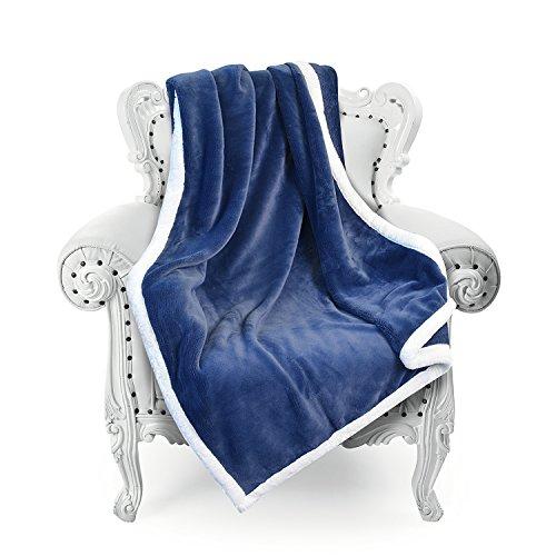 "Super Soft Fuzzy Throw Blanket 50""x 70"", Reversible Luxury F"