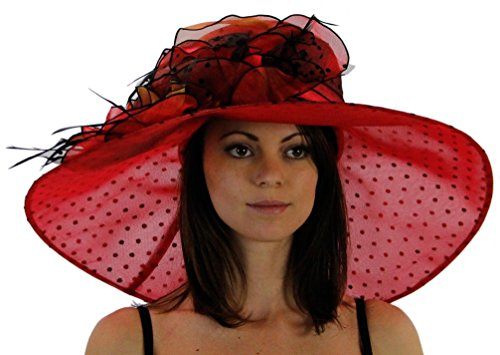 Polka Dot Wide Brim Organza Derby Hat with Jewel Accents, Red