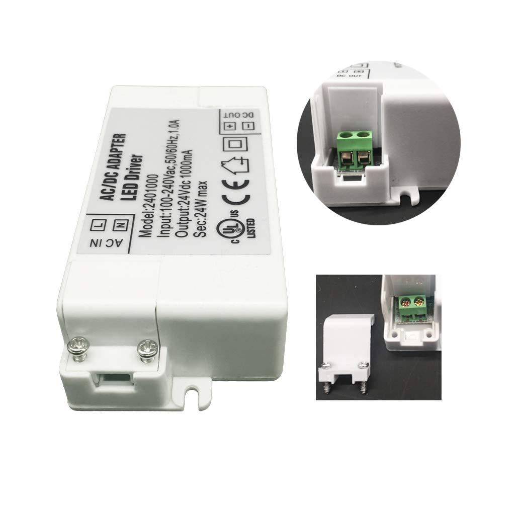 1-Paquete Transformador de Conductor LED de Bajo Voltaje IP44 24V 1A 24W Fuente de Alimentaci/ón Conmutada de CA//CC YAYZA