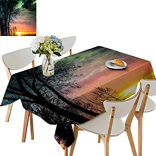 - UHOO2018 Solid Tablecloth Sky with Unusual Colored Storm Clouds Up in Air and Tree Silhouette Image Square/Rectangle Spillproof Fabric Tablecloth,52 x 70inch