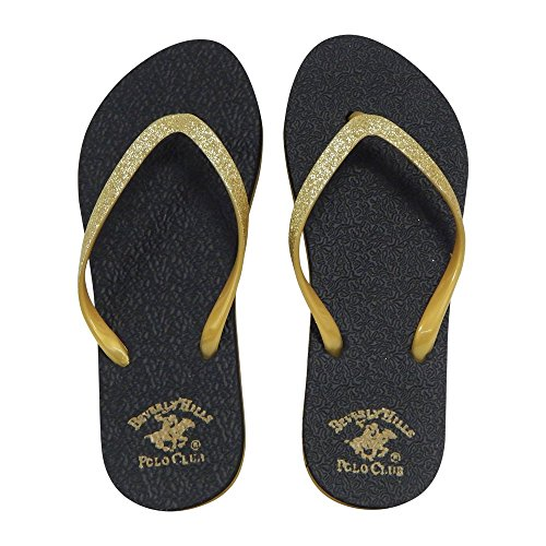Beverly Hills Polo Club Sizzle Womens Glitter Sparkle Flip Flop Sandal Thong (7 US, Gold)
