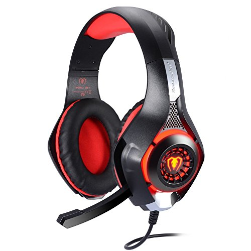 Game Headset, TURN RAISE 3.5mm Stereo Gaming LED Lighting Over-Ear Headphone with Mic for Playstation 4 PS4 PC Computer Gamer - Support Noise Cancelling & Volume Control(Red in Black)