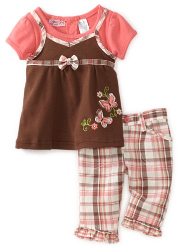 Young Hearts Baby Girls' Mock Double Layer Skirt With Plaid Woven Pant Set, Pink/Brown, 12 Months