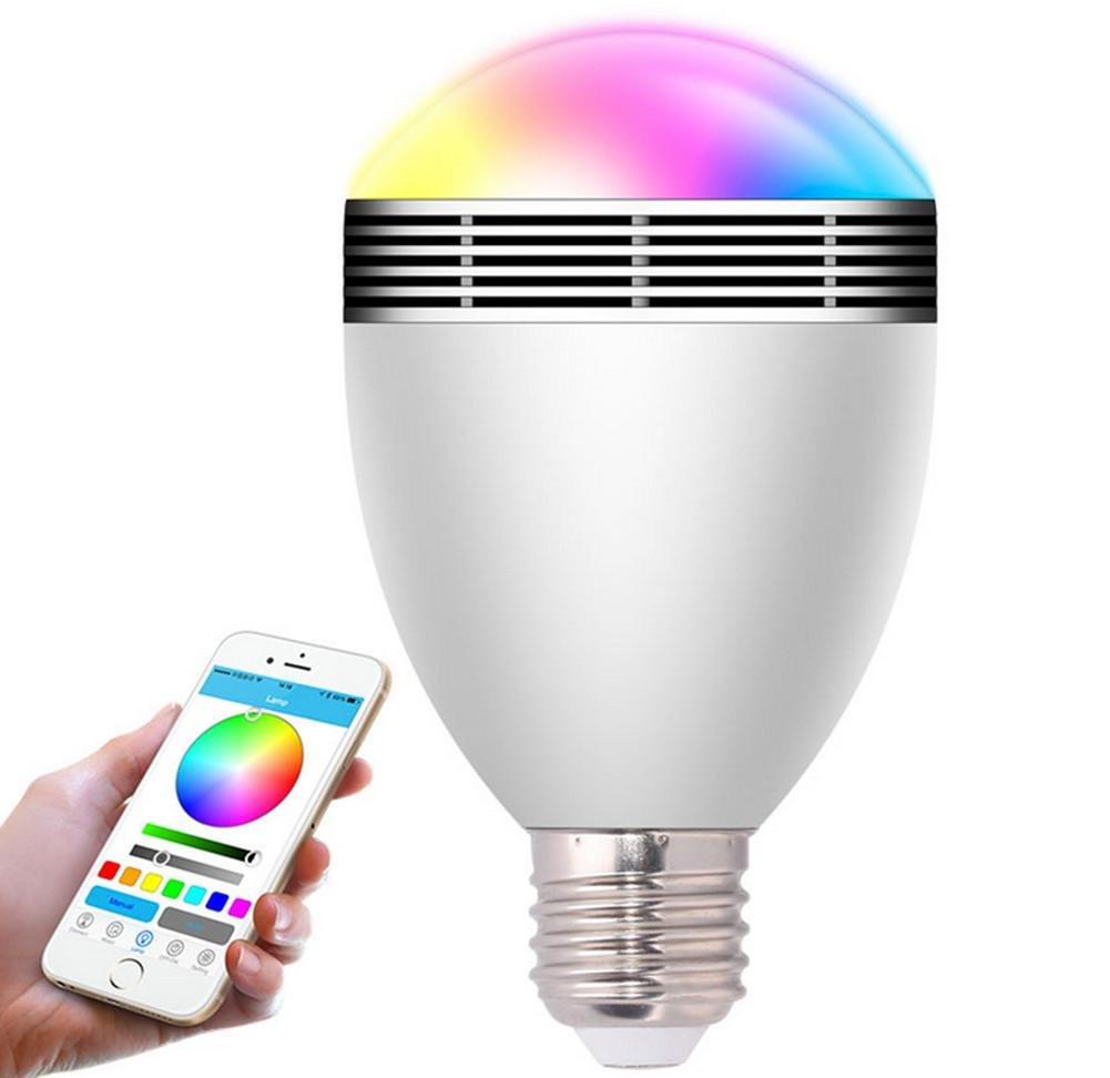 DMMSS Plastic Pc Bluetooth Audio Light Intelligent Wireless Remote Control Speaker Energy Saving Lamp Bluetooth Led Bulb (80 140Mm)