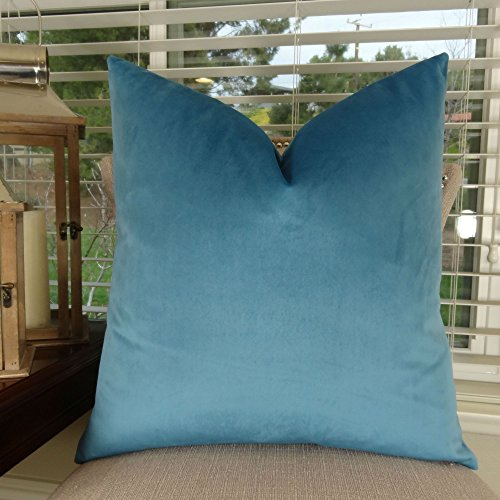 Thomas Collection Luxury Teal Throw Pillow For Couch Peacock Blue