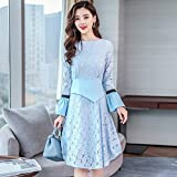 GAOLIM Autumn And Winter Women'S Hollow Folds Long-Sleeved Collar Chiffon Shirt Bottom Shirt Shirt, L, Blue Lake