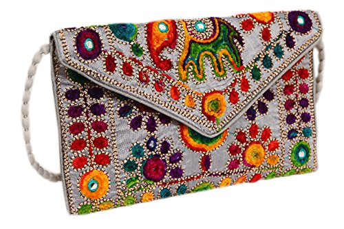 Handicraft Cross Bag Bag Embroidered Bag amp; Body Silver Indian Evening Cluch Bq0BwnX41r
