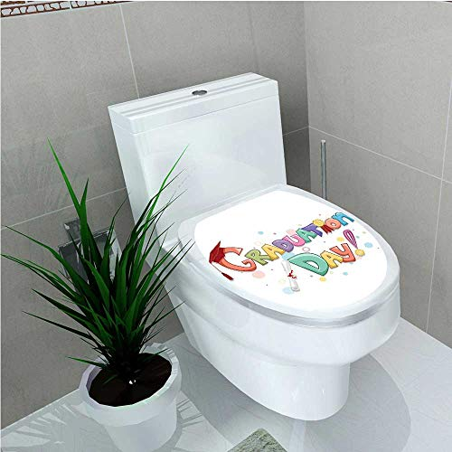 aolankaili Bathroom Removable PVC Celebration Quote with Colorful Circles Diploma Ceremony Style Illustration Multi W12 x L14]()