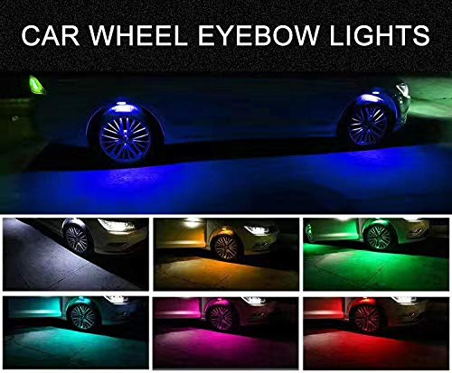 FULSHI Car Wheel Lights,4 Pcs Car-Styling Car Strobe LED Multicolor Wheel Lights Tire Light Flashing Atmosphere Lamp DRL Tire Valve Lamp Car Wheel Eyebrow Shape Warning Light(Black)]()