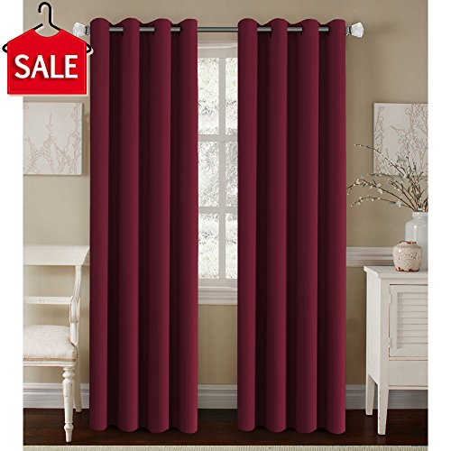 Classic Contemporary Bedroom (H.Versailtex Premium Blackout Thermal Insulated Room Darkening Curtains for Bedroom/Living Room - Classic Grommet Top (2 Panels,Burgundy, 52 by 84 - Inch))