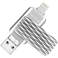 USB Flash Drives for iPhone 32GB, Bari Jump Drive, Pen Drive Lightning Memory Stick External Memory Storage OTG Flash Drive Compatible to iPhone,iPad,iPod,Mac,Android and PC (32G Silver)