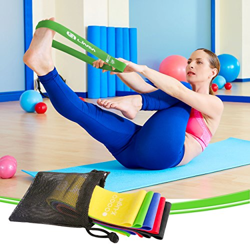 Large Product Image of Limm Resistance Bands Exercise Loops - Set of 5, 12-inch Workout Flexbands for Home Fitness, Stretching, Physical Therapy and More - Includes Bonus eBook, Instruction Manual, Online Videos & Carry Bag