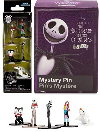 Nightmare Before Christmas Mini Metal Figs 5-Pack Jack Skellington / Sally / Scary Teddy / Pajama / Zero Ghost Dog Pop Characters + Blind Box Silver Tone Collectible pin Set ()