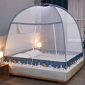 LTJTVFXQ-tarp Zanzariera yurta 1,5 Metri 1,8 m Letto 1,2 casa Tenda Anti-Caduta Completamente Chiusa con Cerniera Blu 4 spesavip
