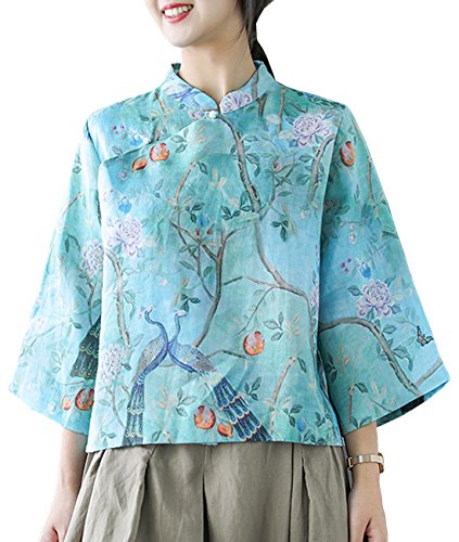 - YESNO E89 Girls Casual Retro Floral Blouse Shirts Cropped Tops 100% Linen Chinese Qipao Frogs Side Split 3/4 Sleeve (S, Blue)