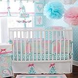 My Baby Sam 4 Piece Pixie Baby Crib Bedding Set, Aqua