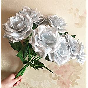 jiumengya 8pcs Silk Roses 38cm/14.96 inches Artificial Single Rose Gold Tone Silver Colors for Wedding Xmas Party Home Decorative Flower (Silver) 89