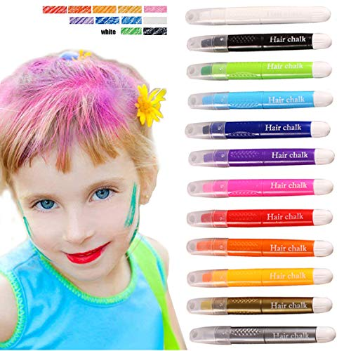 Kyerivs Hair Chalk Pens 12 Colors Temporary Hair Chalk,Easy To Use,Works On All color hair -Great Dress Up Performance Costumes Party Temporary Color Christmas Gift For Kids Girls Of All Ages