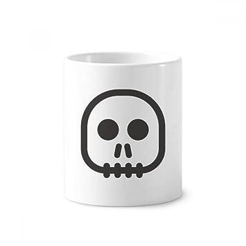 DIYthinker Esqueleto cuadrado Emoji cerámica Cepillo de dientes titular de la pluma Taza blanca Copa 350ml regalo 9,6 cm de alto x diámetro 8.2cm: ...