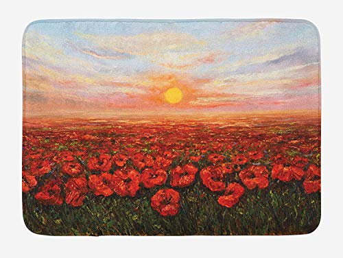 (Flower Bath Mat, Wild Opium Poppy with Petals Field in Front of Sunset Artistic Picture, Plush Bathroom Decor Mat with Non Slip Backing, 23.6 W X 15.7 W Inches, Pale Blue Green Red)