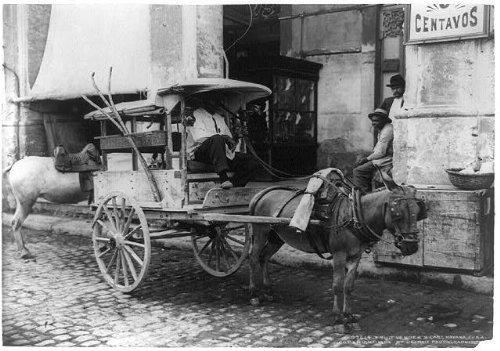 Photo: Fruit vendor's cart,street,commerce,horse drawn,food,wagons,Havana,Cuba,c1904 -