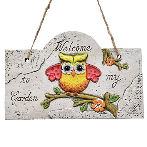 Hanging Cement Plaque with Owl Welcome to My Garden