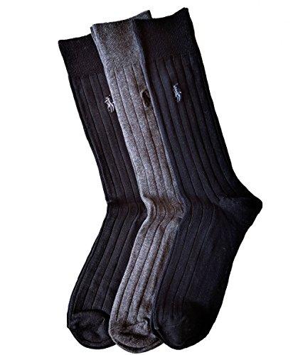 Polo Ralph Lauren Men's 3 Pack Ribbed Dress Socks (Black, Charcoal, Navy)