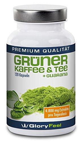 Grüner Tee Extrakt - Hochdosierte grüner Tee Kapseln + Grüner Tee und Guarana - 100% Natürlicher Wirkstoffkomplex aus Green-Tea + Green Coffee + Guarana - 120 vegane Kapseln - Premiumqualität Deutscher Herstellung