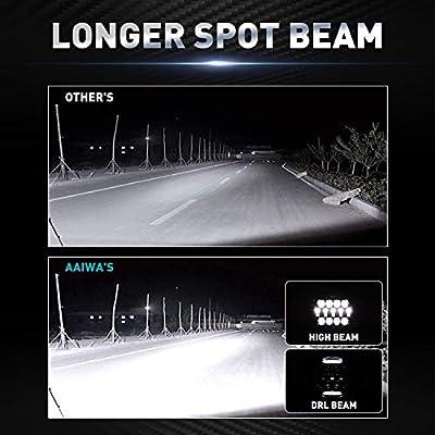 Round LED Work Light, AAIWA 60W Flood Spot Combo Beam LED Light Bar with Daytime Running Light, 4PCS Off Road Driving Lights for Truck Pickup Jeep SUV ATV UTV, 1 Year Warranty: Automotive