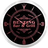 ncu03282-r BENZING Family Name Bar & Grill Cold Beer Neon Sign LED Wall Clock