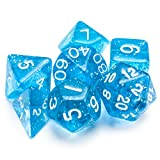 7 Die Polyhedral Dice Set - Diamond Dust (Blue Glitter) with Velvet Pouch by Wiz Dice