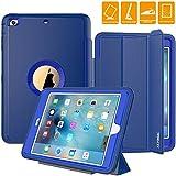 ipad 1 cover blue - iPad Case, iPad Mini 1 2 3 Case, SEYMAC Three Layer Drop Protection Rugged Protective Heavy Duty iPad Case with Magnetic Smart Auto Wake / Sleep Cover for Apple iPad Mini 1/2/3 (Blue)