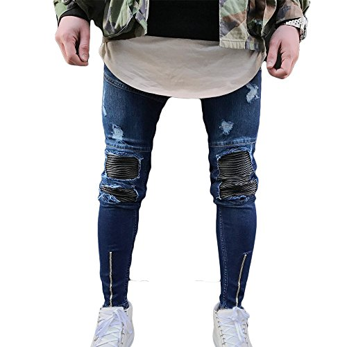 Just No Logo Men's Skinny Ripped Moto Biker Jeans(Blue,34W)