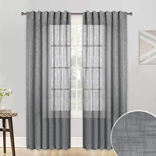 RYB HOME Textured Sheer Window Curtains for Bedroom, Faux Linen Fabric with Rod Pocket & Back Tab Top Country Rustic Curtains for Farmhouse, Grey, 52 inches Width x 84 inches Length, 2 Pcs