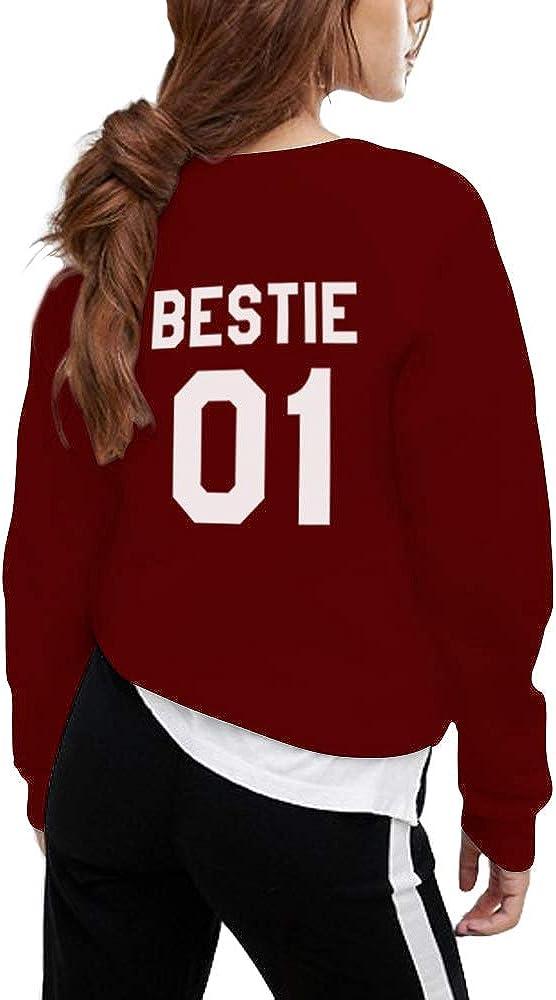 Womens Crewneck Sweatshirt Long Sleeve Casual Pullover Shirt Bestie 01 02