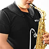 #7: Saxophone Wide Neck Strap with Swivel Hook, Breathable Cotton & Real Leather, Black