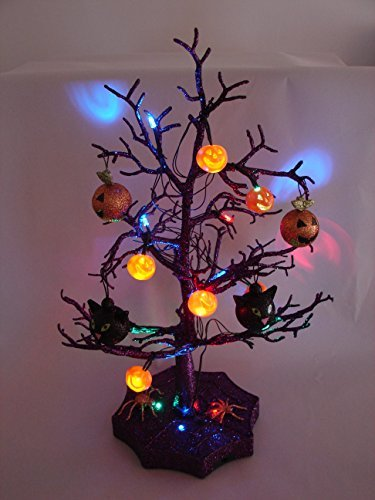 Halloween Decorations - SPOOKY LED LIGHTED HALLOWEEN TREE - Quality Indoor Party Decor includes Jack 'o Lanterns, Spiders & Black Cat Tree Ornaments - 19