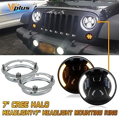 """2PCS 7/"""" inch Round CREE LED Headlight Halo Angle Eyes Hi-Lo For Jeep Wrangler MY"""