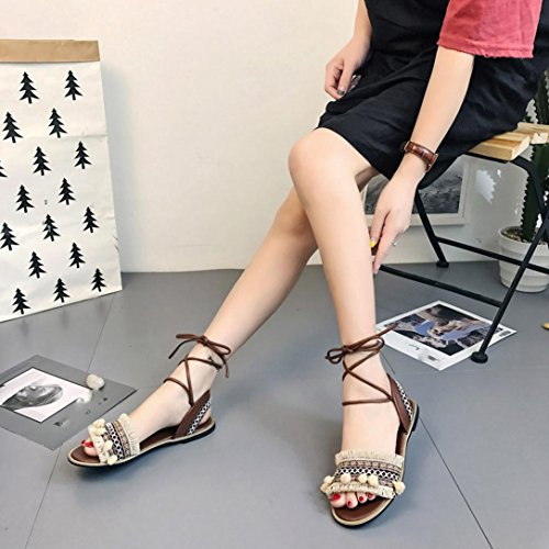 HLHN Women Sandals,Bohemia Roman Tassel Ankle Lace up Strap Flat Heel Open-Toe Shoes Casual Vintage Beach Beige